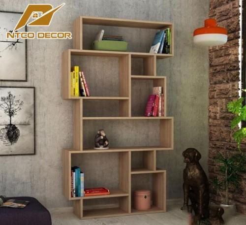 Kệ trang trí kết hợp kệ sách màu vân gỗ KTB12-5